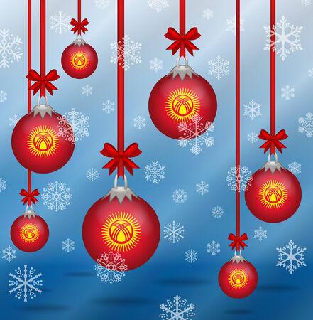 kyrgyzstan: Ilustration Christmas background flags Kyrgyzstan