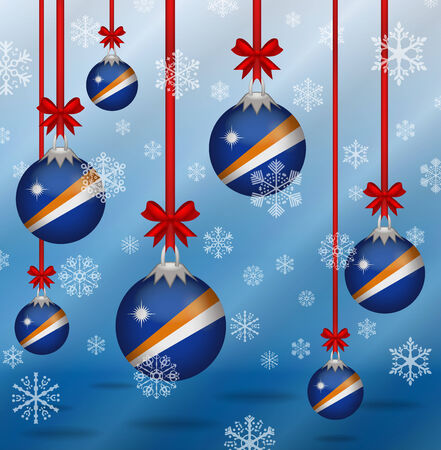 marshall: Ilustration Christmas background flags Marshall Islands Illustration