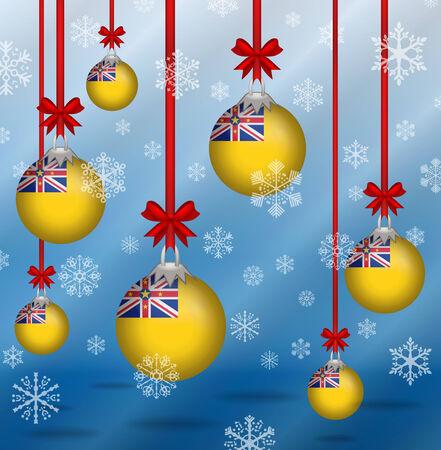 niue: Ilustration Christmas background flags Niue Illustration