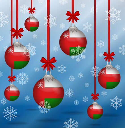 oman background: Ilustration Christmas background flags Oman