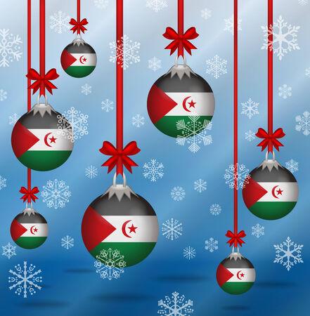 sahrawi arab democratic republic: Ilustration Christmas background flags Sahrawi Arab Democratic Republic Illustration