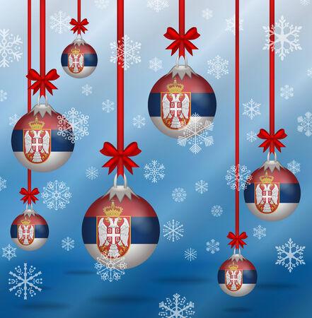 serbia xmas: Ilustration Christmas background flags Serbia