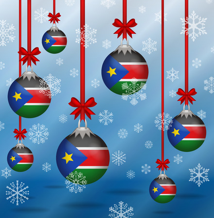 sudan: Ilustration Christmas background flags South Sudan