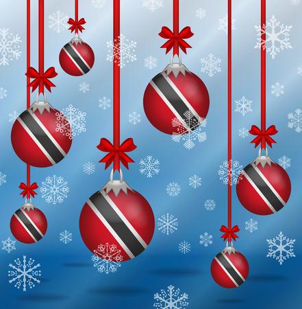 trinidad and tobago: Ilustration Christmas background flags Trinidad and Tobago Illustration