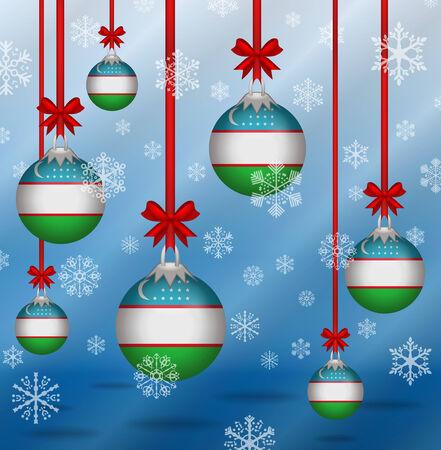 uzbekistan: Ilustration Christmas background flags Uzbekistan