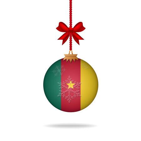 cameroon: Ilustration christmas ball flag Cameroon