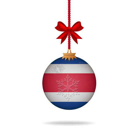 costa rica: Ilustration christmas ball flag Costa Rica