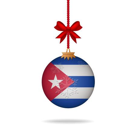 flag of cuba: Ilustration christmas ball flag Cuba