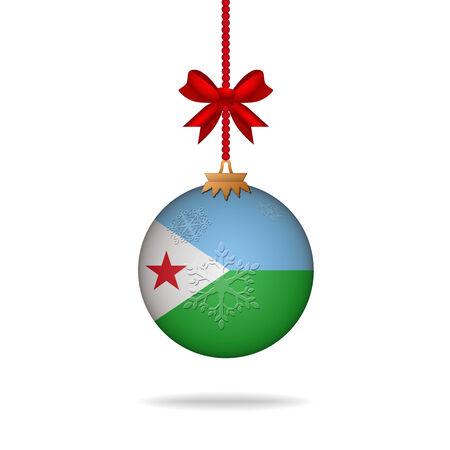 Ilustration christmas ball flag Djibouti Vector