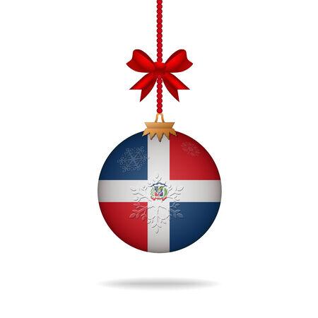 dominican republic: Ilustration christmas ball flag Dominican Republic