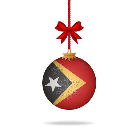 east: Ilustration christmas ball flag East Timor
