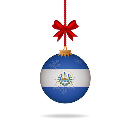 el salvador: Ilustration christmas ball flag El Salvador Illustration