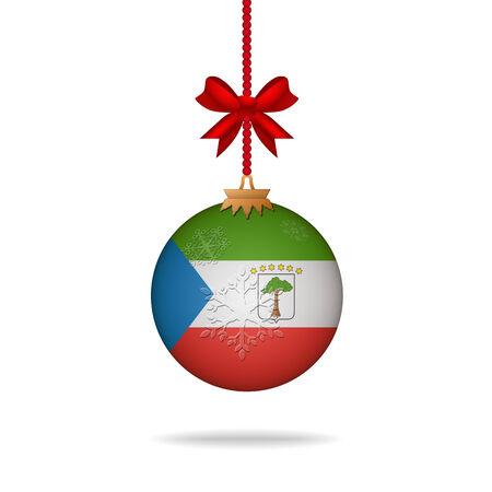 equatorial guinea: Ilustration christmas ball flag Equatorial Guinea