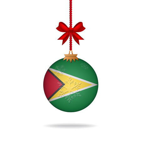 guyana: Ilustration christmas ball flag Guyana