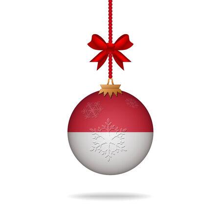 indonesia culture: Ilustration christmas ball flag Indonesia