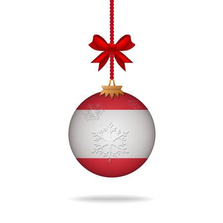 lebanon: Ilustration christmas ball flag Lebanon