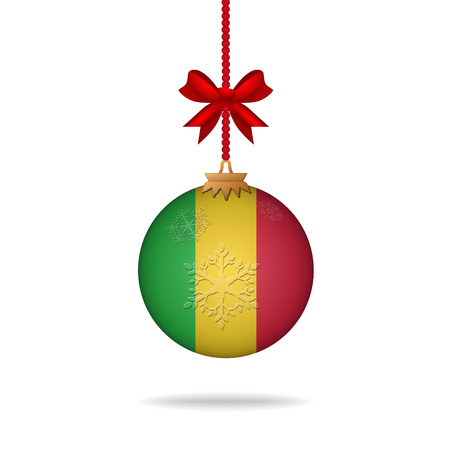 mali: Ilustration christmas ball flag Mali