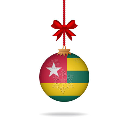 togo: Ilustration christmas ball flag Togo