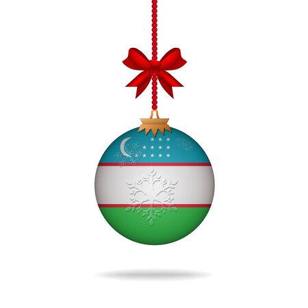 oezbekistan: Ilustration christmas ball flag Uzbekistan