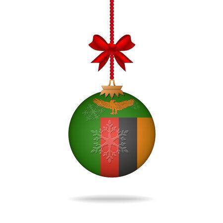 zambia: Ilustration christmas ball flag Zambia