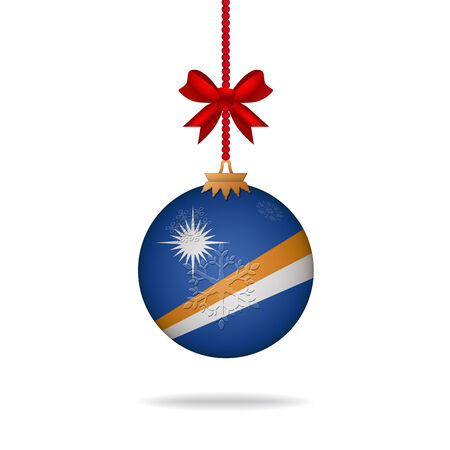 marshall: Ilustration christmas ball flag Marshall Islands