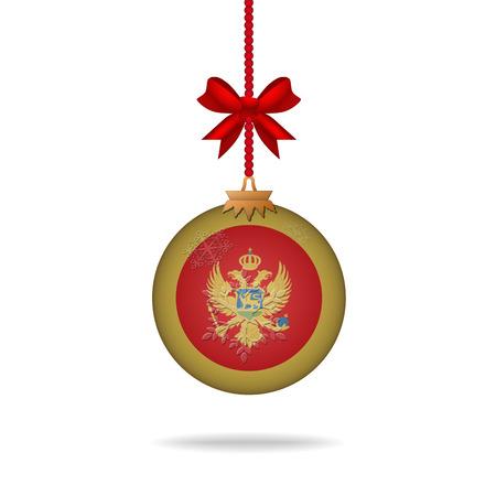 Ilustration christmas ball flag Montenegro
