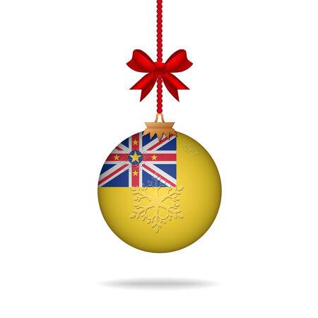 niue: Ilustration christmas ball flag Niue