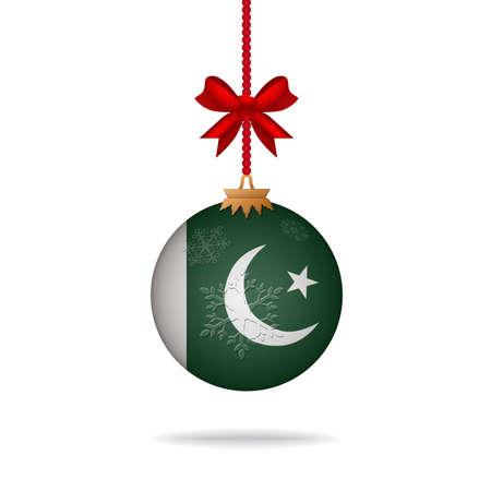 flag of pakistan: Ilustration christmas ball flag Pakistan Illustration