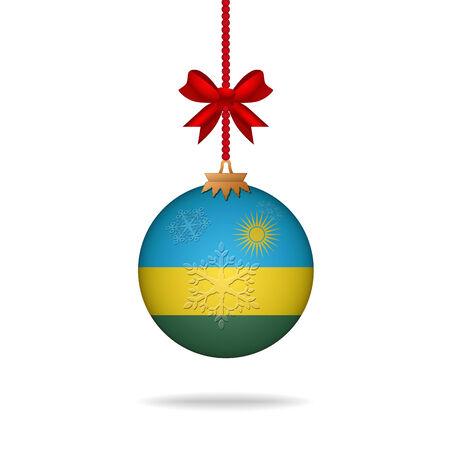 rwanda: Ilustration christmas ball flag Rwanda