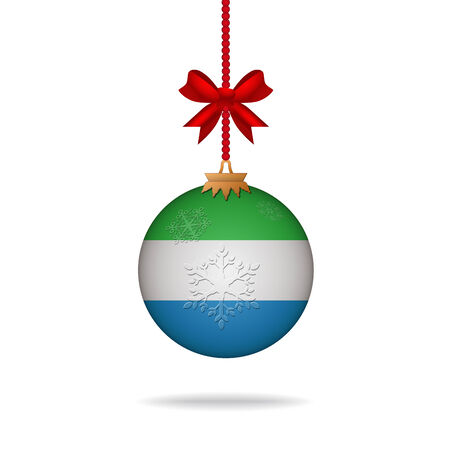 sierra: Ilustration christmas ball flag Sierra Leone