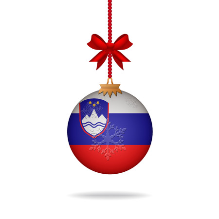slovenia: Ilustration christmas ball flag Slovenia