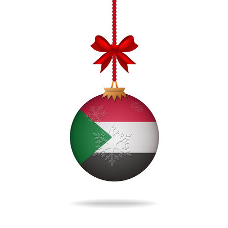 sudan: Ilustration christmas ball flag Sudan