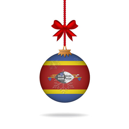 swaziland: Ilustration christmas ball flag Swaziland