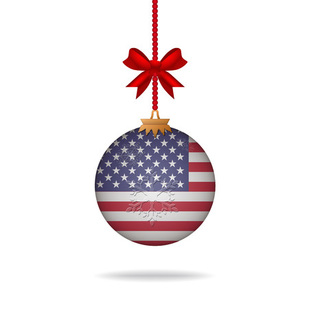 Ilustration christmas ball flag United States Illustration