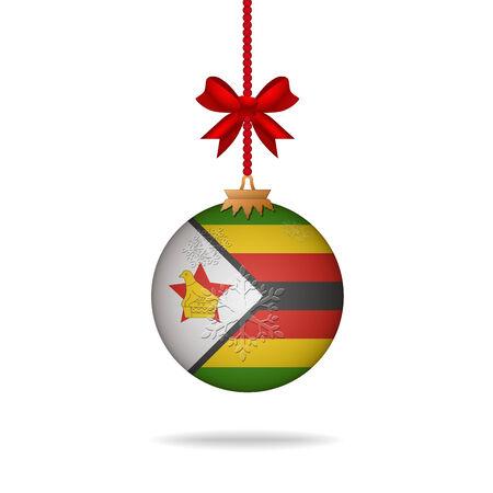 zimbabwe: Ilustration christmas ball flag Zimbabwe