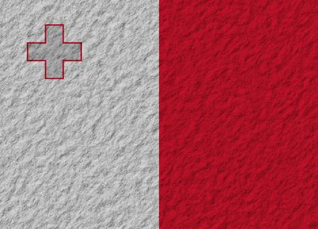 malta flag: illustration of a stone flag of Malta