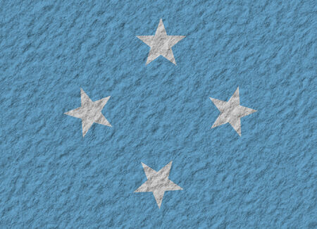 micronesia: illustration of a stone flag of F.S. Micronesia