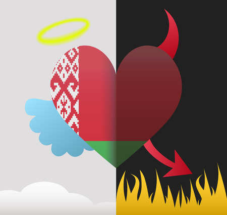 Belarus background of a heart half demon half angel