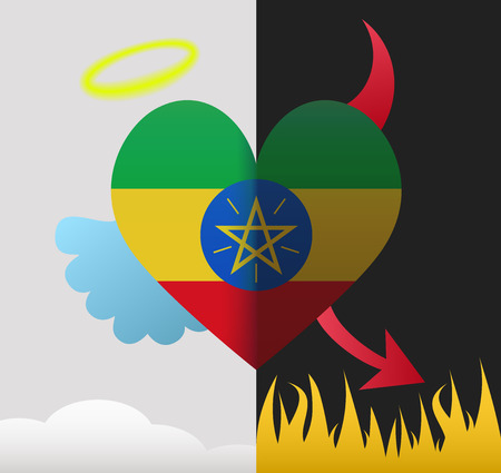 Ethiopia background of a heart half demon half angel Vector