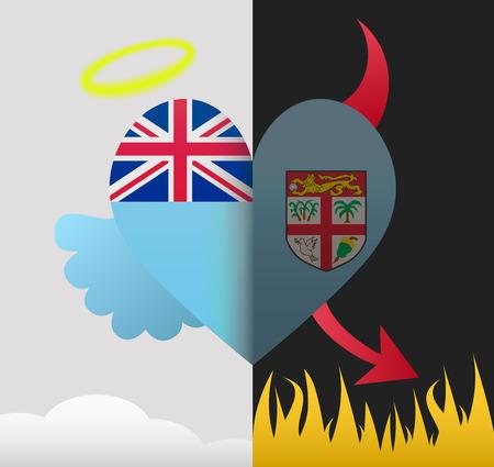 fiji: Fiji background of a heart half demon half angel