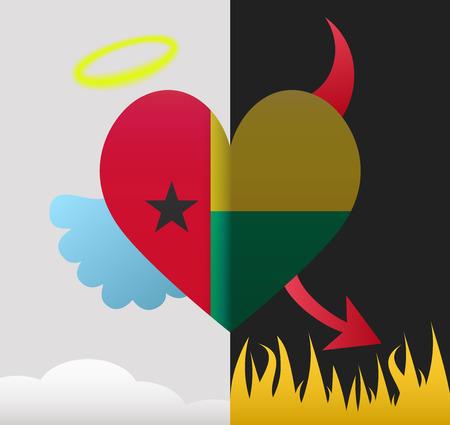 guinea bissau: Guinea Bissau background of a heart half demon half angel