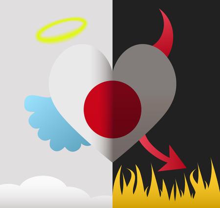 Japan background of a heart half demon half angel Illustration