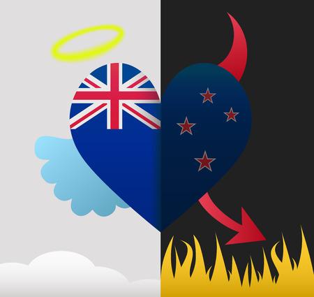 New Zealand background of a heart half demon half angel Vector