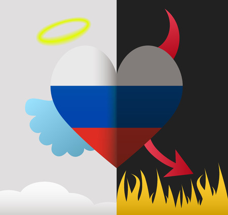 Russia background of a heart half demon half angel Vector