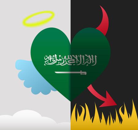 Saudi Arabia background of a heart half demon half angel Vector