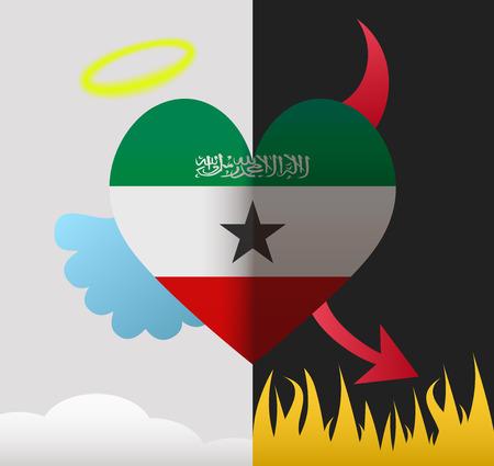 somaliland: Somaliland background of a heart half demon half angel Illustration
