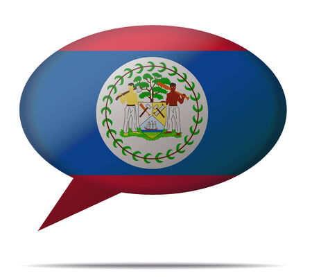 belize: Illustration Speech Bubble Flag Belize