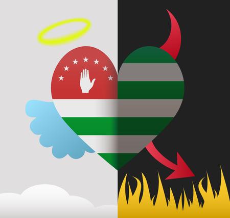 abkhazia: Abkhazia background of a heart half demon half angel