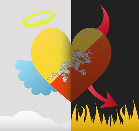 bhutan: Bhutan achtergrond van een hart half demon half engel