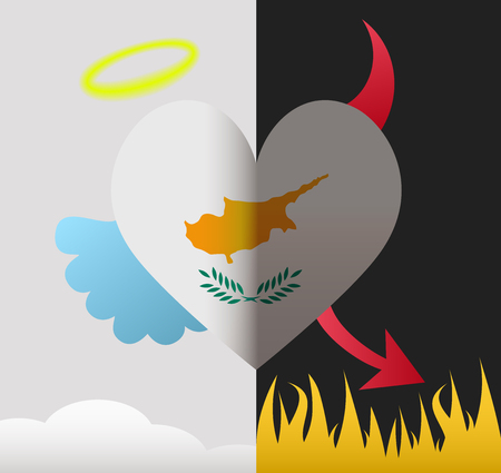 Cyprus background of a heart half demon half angel Vector